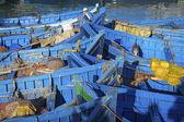 Blauwe vissersboten — Stockfoto
