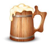 Wooden mug of beer — Stock Vector