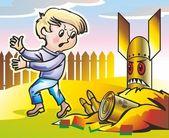 Ammunition & child — Stock Vector
