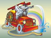 Elephant firefighter — Stock Vector