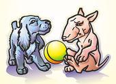 Bull terrier and spaniel — Stock Vector