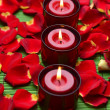 Candles with red rose petals — Stock Photo