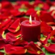 Candles with red rose petals — Stock Photo #19508357