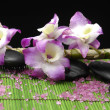 Spa sitting with orchid and stones - Stock Photo