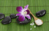 Orchid with stones on green mat — Stock Photo
