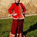 donna in costume nazionale russa per la vacanza — Foto Stock
