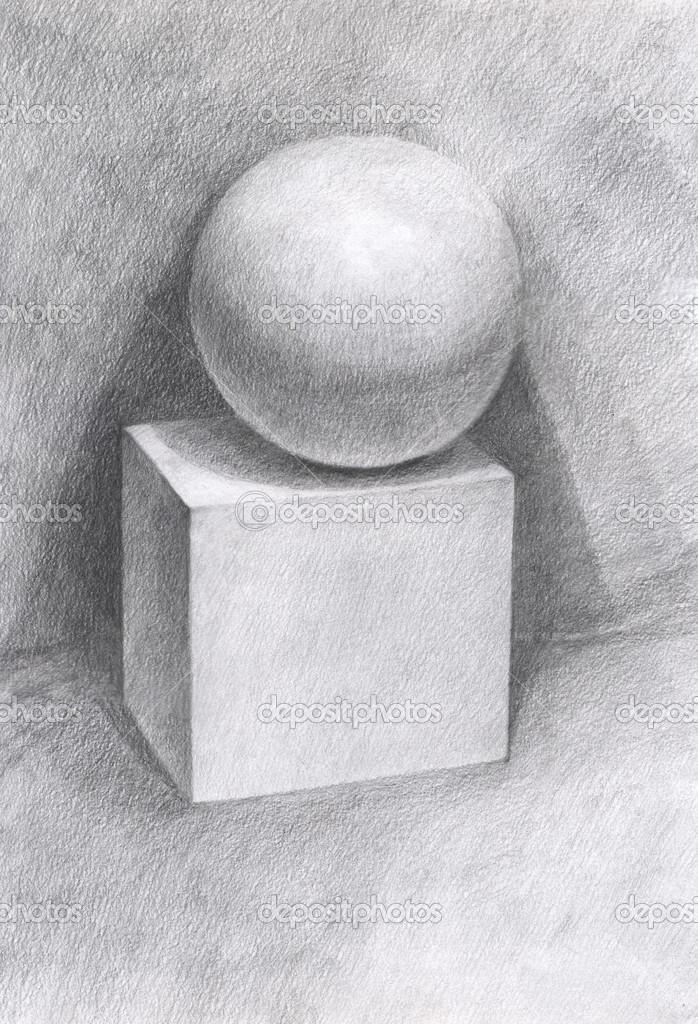 Рисуем куб и шар на нем