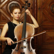 Girl cellist — Stock Photo