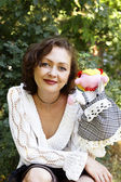 Woman and hand puppet — Stock Photo