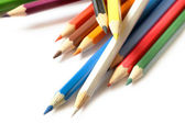 Multicolored pencils close-up on white background — Stock Photo