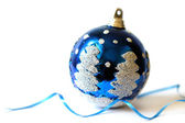 Christmas bauble on white background close-up — Stock Photo