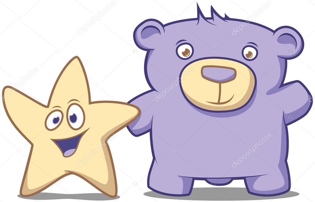 Little Star and his friend Bear waving hello — Stock Vector #16640275