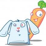 Sr. zanahoria y conejo tonto — Vector de stock