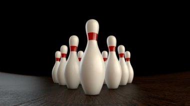 Animation of ten-pin bowling strike