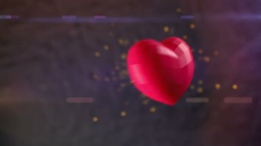 3D animation of Ruby heart bursting with sparks in slow-motion with shallow depth of field and anamorphic flares