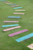 Colorful wooden pathway steps — Stock fotografie