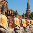 Ancient buddha statues with blue sky, — Stock Photo