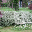 White chair in a garden — Stock Photo