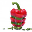 Sliced red and green sweet pepper isolated on white — Stock Photo
