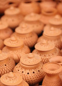 Thai traditional clay pottery with selective focus — Stockfoto
