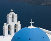 Blue Domed Church on Santorini - Greece — Stock Photo