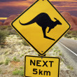 Kangaroo Warning Sign - Australian Outback - Stock Photo