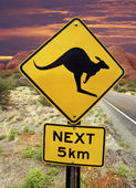 Kangaroo Warning Sign - Australian Outback — Stock Photo