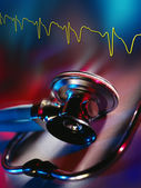 Stethoscope & Electrocardiograph — Stock Photo