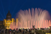 Tourists at the Font Magica (Magic Fountain) in Barcelona — Stock Photo