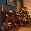 Christmas Tree and Fireplace - Stock Photo