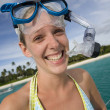 Girl in snorkel gear near a tropical beach in Fiji — Stock Photo