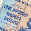 Stock Photo: Banknote of one hundred trillion dollars - Zimbabwe