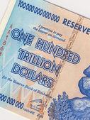 Banknote of one hundred trillion dollars - Zimbabwe — Stock Photo