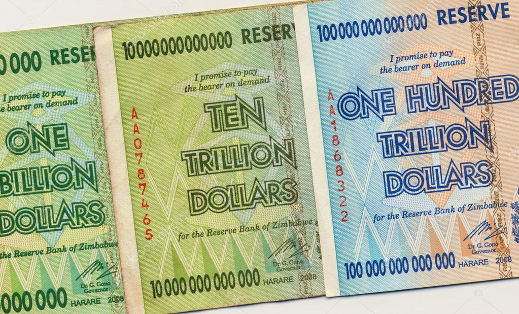 Banknotes of Zimbabwe of one hundred trillion dollars. This banknote has the highest nominal value in history. The hyper inflation in Zimbabwe in 2008 and 2009 broke every record.  Stock Photo #17309487