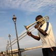 Street musician - French quarter - New Orleans - USA — Stock Photo