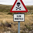 Minefield sign - Falkland islands — Stock Photo