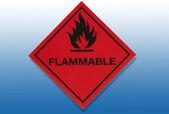 Tehlike uyarı işareti - yanıcı — Stok fotoğraf