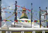 Prayer flags & Boudhanath Stupa - Kathmandu - Nepal — Stock Photo