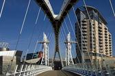 Millennium Bridge & Lowery Centre - Manchester - England — Stock Photo