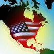 North American Continent with flag of the United States — Stock Photo