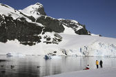 Adventure tourists in Antarctica — Stock Photo