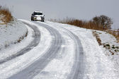 Driving in Winter Snow - Northern England — Stock Photo