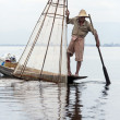 Leg-rowing Fisherman - Inle Lake - Myanmar — Stock Photo