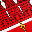 Detail on the flag of Gibraltar — Stock Photo