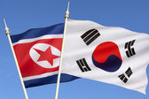 Flags of North and South Korea — Stock Photo