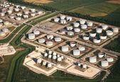 Aerial view - Oil Refinery Storage Tanks — Stock Photo