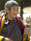 Elderly Buddhist Pilgrim - Kingdom of Bhutan — Stock Photo