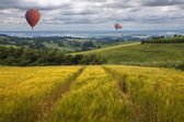 Hot Air Balloons over the East Yorkshire Wolds — Stock Photo
