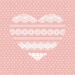 Pink lace heart - Stock Vector