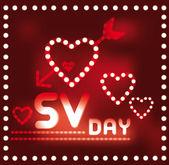 Framed light hearts in red — Stock Vector